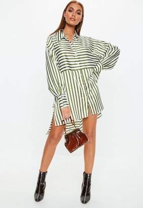 Missguided Khaki Stripe Drop Back Oversized Shirt Dress