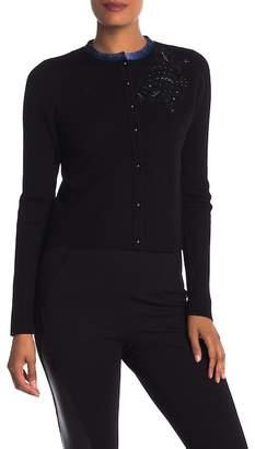 Elie Tahari Elissa Leather Collar Cardigan Sweater