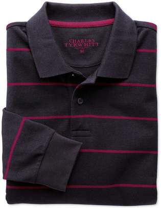Charles Tyrwhitt Navy and Berry Stripe Pique Long Sleeve Cotton Polo Size Medium