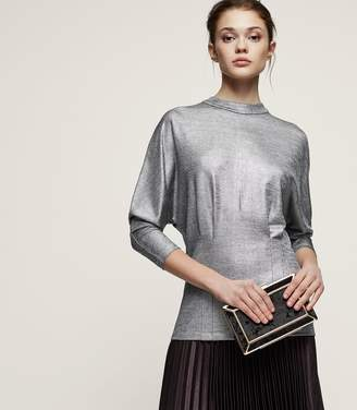 Reiss Gale - High-neck Metallic Top in Silver