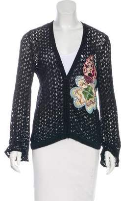 Missoni Embroidered Open-Knit Cardigan