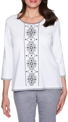 Alfred Dunner Play Date 3/4 Slv Floral Applique T-Shirt-Womens