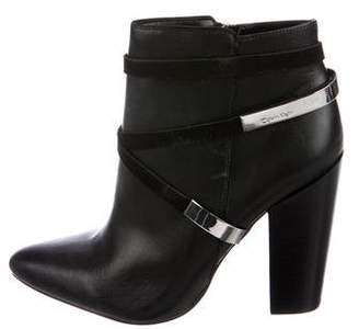 Calvin Klein Leather Pointed-Toe Ankle Boots