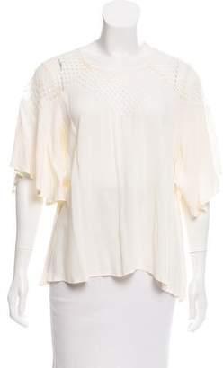 Ella Moss Lace-Paneled Cap Sleeve Top