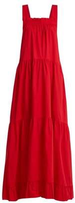 Lee Mathews - Davis Cotton Poplin Maxi Dress - Womens - Red