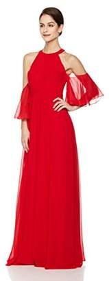 Social Graces Women's Wrapped Bodice High-Neck Cold-Shoulder Evening Gown 2
