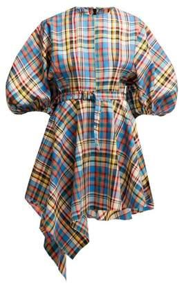 Marques Almeida Marques'almeida - Asymmetric Tartan Poplin Mini Dress - Womens - Multi