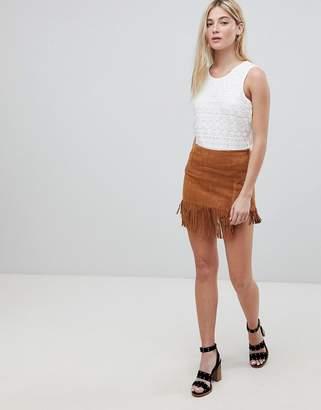 Brave Soul Suedette Fringed Hem Festival Skirt
