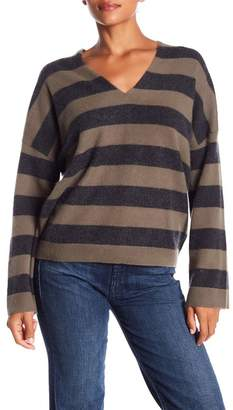 Vince Cashmere Stripe V-Neck Sweater