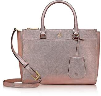 Tory Burch Light Rose Gold Saffiano Leather Robinson Metallic Small Double-Zip Tote