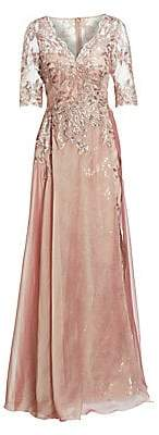 Teri Jon by Rickie Freeman Women's Layered Chiffon & Sequin Gown