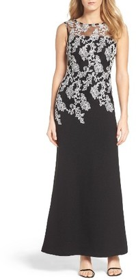 Women's Ellen Tracy Embroidered Crepe Gown $218 thestylecure.com