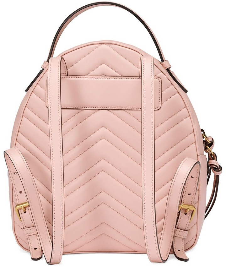 b12c0ed1fd60 Gucci Pink GG Marmont leather backpack detail image