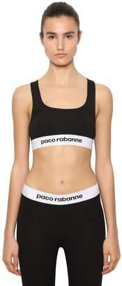 Paco Rabanne Logo Band Jersey Sports Bra