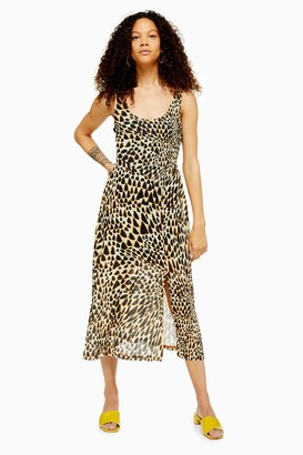 Topshop PETITE Animal Print Mesh Tie Dye Midi Dress