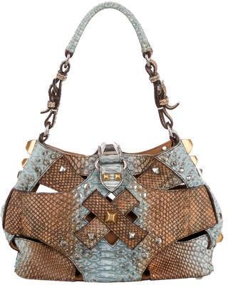 pradaPrada Studded Python Bucket Bag