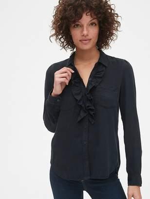 Gap Ruffle-Trim Pocket Shirt in TENCEL