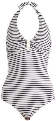 Melissa Odabash Tampa Halterneck Swimsuit - Womens - White/blue