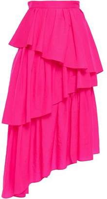 House of Holland Asymmetric Tiered Neon Shell Midi Skirt