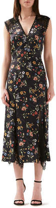 ML Monique Lhuillier V-Neck Floral-Print Sleeveless Dress w/ Lace Godet