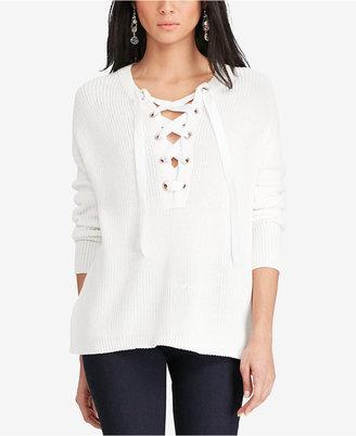 Polo Ralph Lauren Lace-Up Sweater $298 thestylecure.com