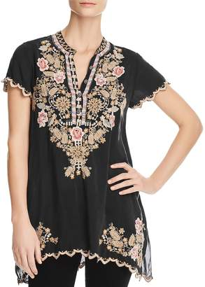 Johnny Was Collection Sanded Black Talum Embroidered Tunic