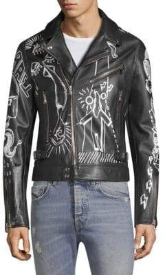 Diesel Black Gold DBG Graffiti Leather Moto Jacket