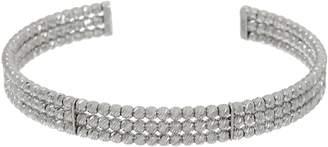 Italian Silver Diamond Cut Beaded Cuff Bracelet, Sterling, 10.0g