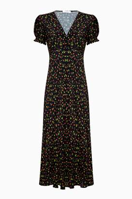 Next Womens Ghost London Black Printed Poet Bias Cut Crepe Midi Dress