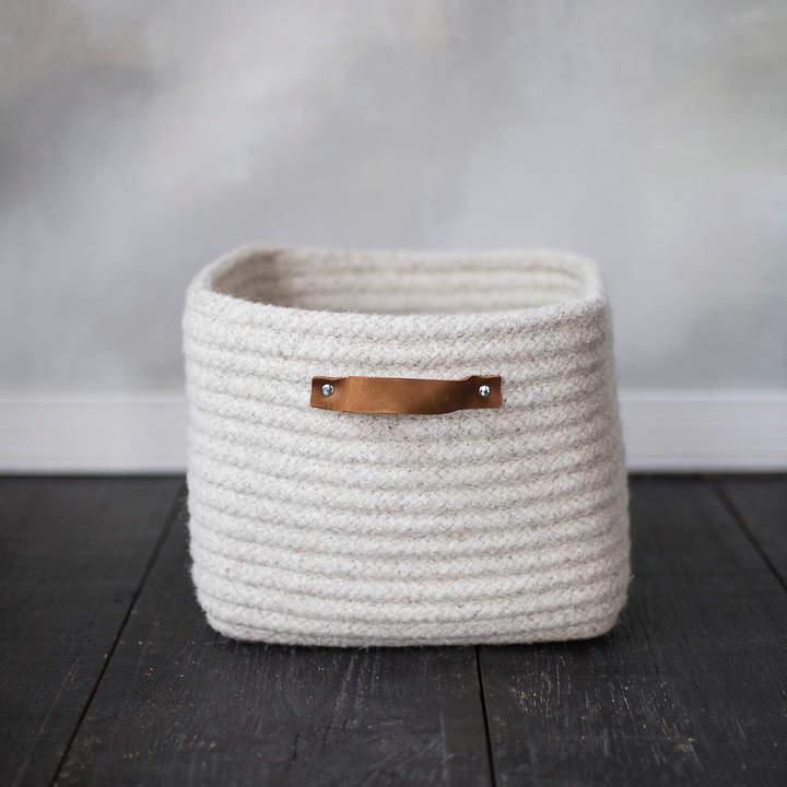 Leather Handle Wool Storage Basket
