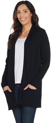 Denim & Co. Open Front Long-Sleeve Cardigan w/ Rib Trim & Pockets