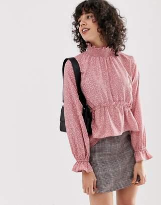 0f57c28604989 Lost Ink high neck smock blouse in ditsy polka dot