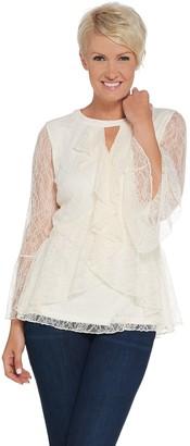 Isaac Mizrahi Live! Chantilly Lace Ruffle Top w/ Keyhole Neck