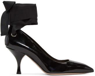 Miu Miu Black Grommet and Ribbon Heels