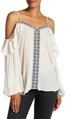 Pleione Embroidered Cold Shoulder Gauze Blouse $54 thestylecure.com