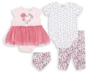 Nicole Miller New York Baby Girl's Four-Piece Floral Tutu Set