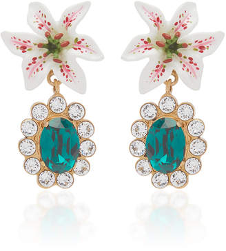 Dolce & Gabbana Lily-Embellished Crystal Drop Earrings
