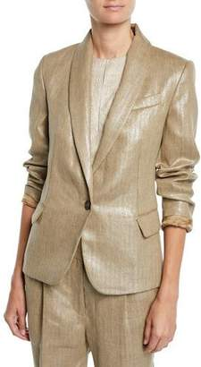 Brunello Cucinelli Metallic-Linen One-Button Blazer Jacket