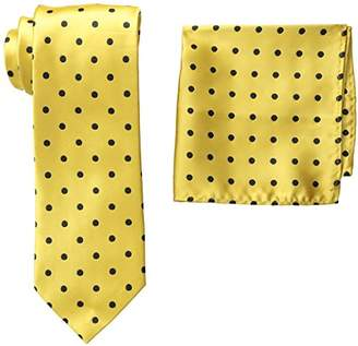 Stacy Adams Men's Tall-Plus-Size Satin Dot Tie Set Extra Long
