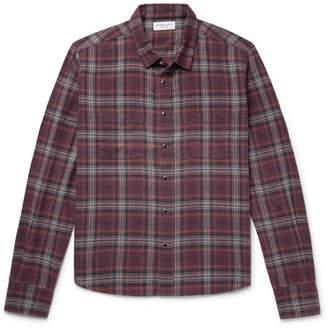 Saint Laurent Checked Cotton-Flannel Shirt - Men - Purple