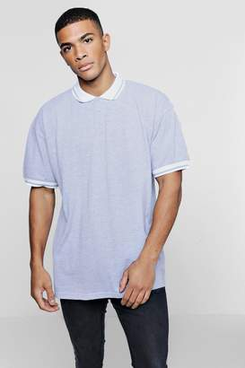 boohoo Oversized Pique Polo With Tipping