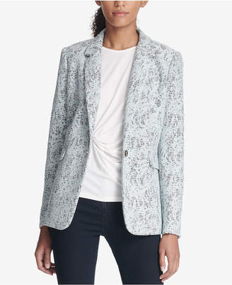 DKNY Bonded Lace One-Button Jacket