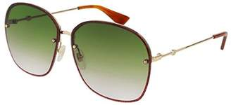 Gucci GG 0228S 001 Metal Oval Sunglasses Green Gradient Lens
