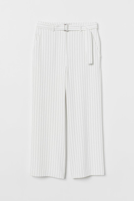 H&M Wide-leg Pants with Belt - White