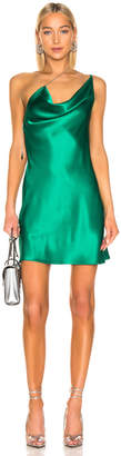 Cushnie for FWRD Asymmetrical Strap Mini Dress in Jade | FWRD