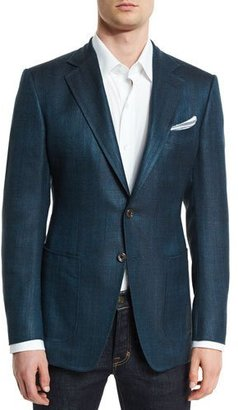 TOM FORD O'Connor Base Rustic Herringbone Sport Jacket, Teal $4,120 thestylecure.com