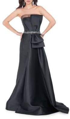 Terani Couture Glamour by Front Bow Beaded Waist Gown