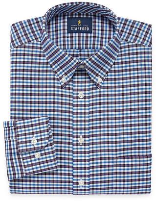 STAFFORD Stafford Travel Wrinkle Free Oxford Long Sleeve Plaid Dress Shirt