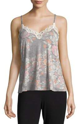 Josie Printed Lace-Trimmed Camisole