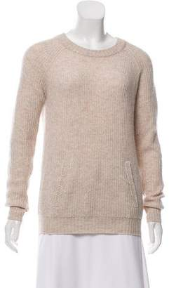 Neiman Marcus Wool & Cashmere-Blend Rib-Knit Sweater
